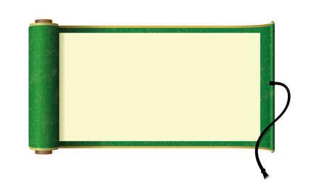 Illustration pour Japanese scroll paper illustration (green) - image libre de droit