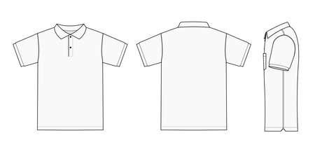 Ilustración de Polo Shirt (golf shirt) template illustration (front/back/side)/White - Imagen libre de derechos