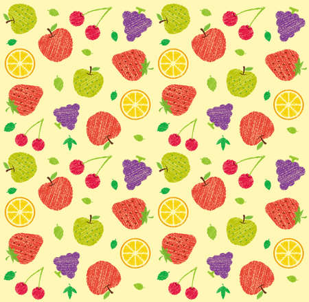 Illustration pour Seamless textile pattern illustration with fruits and flowers (handwriting style/Colored pencil stroke) - image libre de droit
