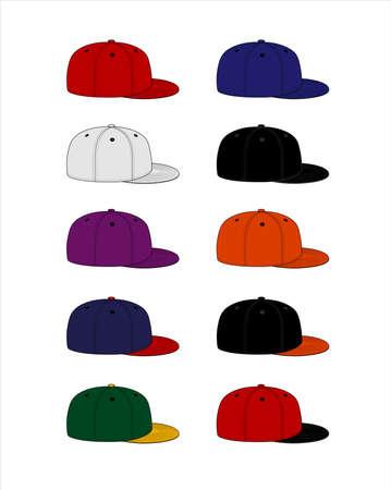 Illustration for Baseball cap template vector illustration set / side views - Royalty Free Image