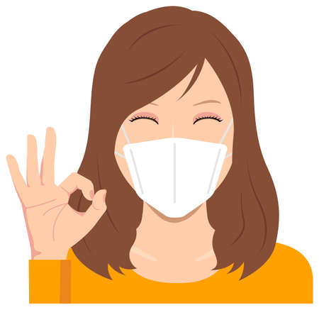 Illustration for Young Woman Wearing a Mask Vector Illustration (Upper Body) / Ok sign with smiling - Royalty Free Image