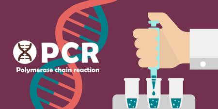 PCR (Polymerase chain reaction) test banner illustration / Novel coronavirus