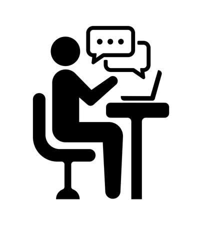 Ilustración de video chat, online seminar, video conferencing vector icon illustration - Imagen libre de derechos
