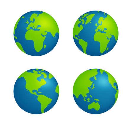 Illustration pour Simplified earth globe vector illustration set - image libre de droit