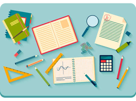 Illustration pour Concept of high school object and college education items with studying and educational elements.  - image libre de droit
