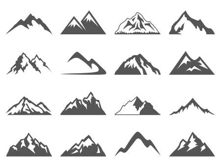 Illustration pour Set of sixteen vector mountain shapes for logos. Camping mountain logo, travel labels, climbing or hiking badges - image libre de droit