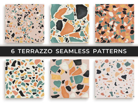 Illustration pour Six seamless terrazzo patterns. Hand crafted and unique patterns vector repeating background. Granite textured shapes in vibrant colors - image libre de droit