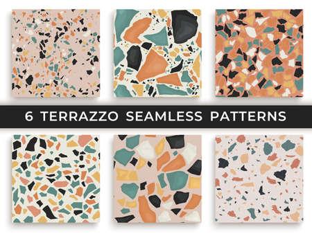 Ilustración de Six seamless terrazzo patterns. Hand crafted and unique patterns vector repeating background. Granite textured shapes in vibrant colors - Imagen libre de derechos