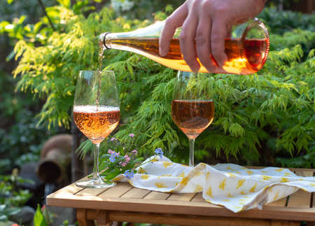 Photo pour Waiter pouring cold rose wine in glasses on outdoor terrace in garden in sunny day - image libre de droit
