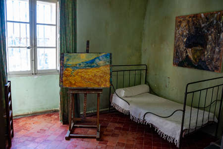 Photo for St Remy de Provence, Bouches du Rhone, Provence, France, 11.05.2019. Reconstruction of Vincent Van Gogh's room in the monastery of St. Paul de Mausole. - Royalty Free Image