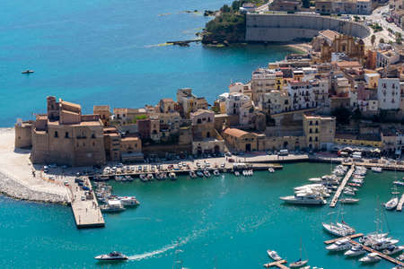 View on old small Sicilian seaside town Castellammare del Golfo located in western part of island
