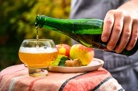 Photo pour Pouring of french apple cider in glass made from new harvest apples outdoor in sunny orchard - image libre de droit