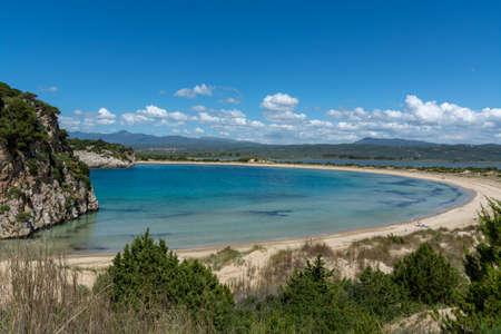 Photo for Sandy beaches of Peloponnese, white sand beach Voidokilias near small town Pylos, Greece - Royalty Free Image
