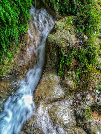 View of small waterfall in the natural landscape of La Floresta in the village of Viver