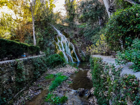 View of the main waterfall of La Floresta in Viver
