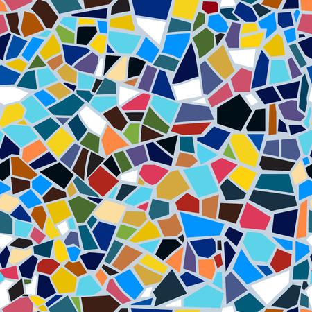 Ilustración de Vector abstract seamless mosaic pattern. Multi-color. Colorful broken tile background. - Imagen libre de derechos