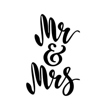Illustration pour Mr and Mrs. brush pen lettering. - image libre de droit