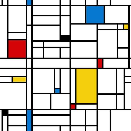 Ilustración de Mondrian style abstract geometric seamless pattern. - Imagen libre de derechos