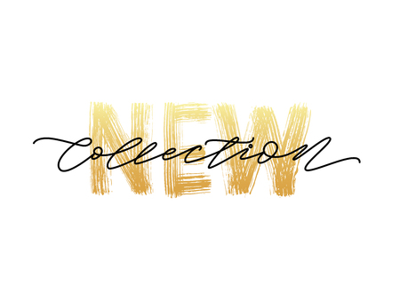 Illustration for New collection gold text on white background.. Modern brush calligraphy. Vector illustration. Hand drawn lettering word. - Royalty Free Image