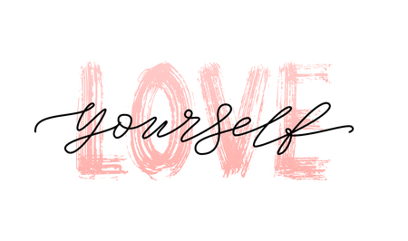 Illustration pour Love yourself quote. Single word. Modern calligraphy text. Design print for t shirt, pin label, badges, sticker, greeting card, banner. Vector illustration black and white. ego - image libre de droit