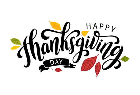 Ilustración de Happy thanksgiving day with autumn leaves. Hand drawn text lettering. Vector illustration. Script. Calligraphic design for print greetings card, shirt, banner, poster. Colorful fall - Imagen libre de derechos