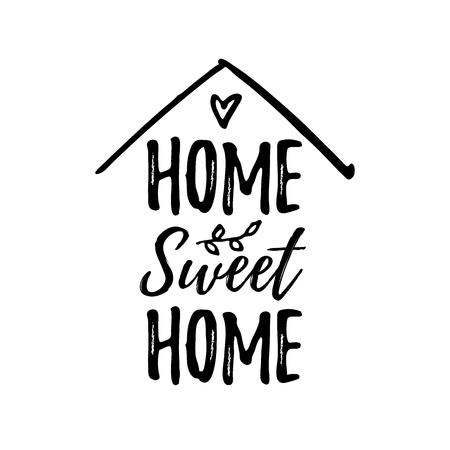 Illustration for Home sweet home. Typography cozy design for print to poster, t shirt, banner, card, textile. Calligraphic quote Vector illustration. Black text on white background. House shape - Royalty Free Image