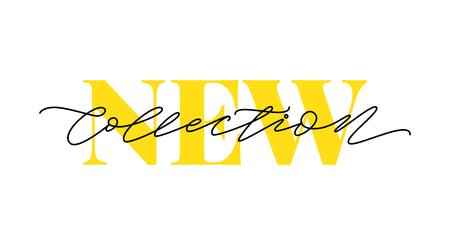 Vektor für New collection yellow text on white background. Modern brush calligraphy. Vector illustration. Hand drawn lettering word. Design for social media, print lables, poster banner etc - Lizenzfreies Bild