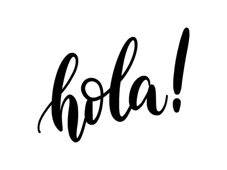 Illustration for Hola word lettering. Hand drawn brush calligraphy. Vector illustration for print on shirt, card, poster etc. Black and white. Spanish text hello phrase. - Royalty Free Image