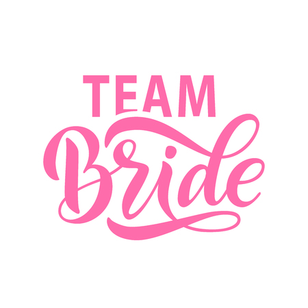 Illustration pour Bride team word calligraphy fun design to print on tee, shirt, hoody, poster banner sticker, card. Hand lettering text vector illustration for bachelorette party, hen party bridal shower - image libre de droit