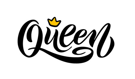 Illustration pour Queen word with crown. calligraphy fun design to print on tee, shirt, hoody, poster banner sticker, card. Hand lettering text vector illustration - image libre de droit