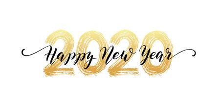 Ilustración de 2020 Happy New Year script text hand lettering. - Imagen libre de derechos