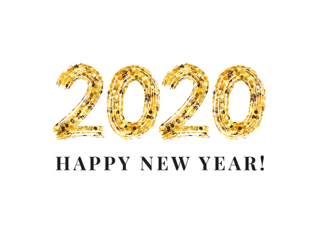 Illustration pour 2020 Happy New Year. Numeral text hand lettering. Dry brush texture effect. Merry Christmas. Graduation. Design template Celebration typography poster, banner or greeting card. Vector Illustration - image libre de droit