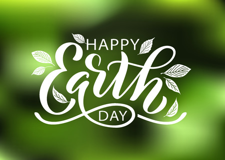 Illustration for Happy Earth Day hand lettering vector illustration with leaves. 22 April. Hand drawn text design for World Earth Day. Green ecology concept for save our planet and environment. For print poster banner - Royalty Free Image