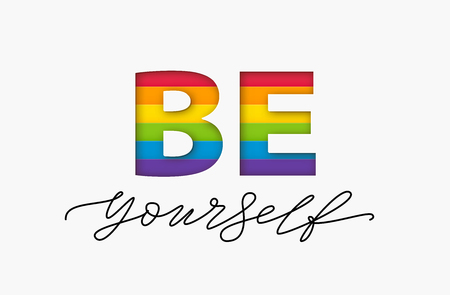 Ilustración de Be yourself quote. LGBT rainbow pride flag. Paper cut word. Lesbian gay bisexual and transgender and queer love yourself. Text design print for lgbt t shirt, poster, card, banner Vector illustration - Imagen libre de derechos