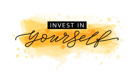 Photo for Invest in yourself. Motivation Quote Modern calligraphy text invest in your self. Design print for t shirt, tee, card, type poster banner. Vector illustration Yellow gold color - Royalty Free Image