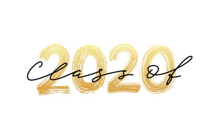 Ilustración de Class of 2020. Modern calligraphy. Vector illustration. Hand drawn brush lettering Graduation . Template for graduation design, party, high school or college graduate, yearbook. - Imagen libre de derechos
