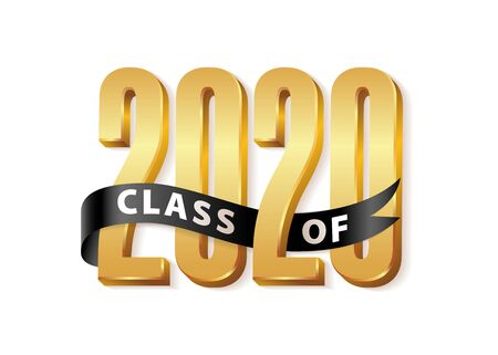 Ilustración de Class of 2020 Gold Lettering Graduation 3d  with black ribbon. Template for graduation design, party, high school or college graduate, yearbook. Vector illustration - Imagen libre de derechos