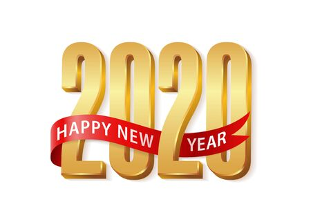 Ilustración de 2020 Happy New Year Gold text 3d with red ribbon. Design template Celebration typography poster, banner or greeting card for Merry Christmas and happy new year. Vector Illustration - Imagen libre de derechos