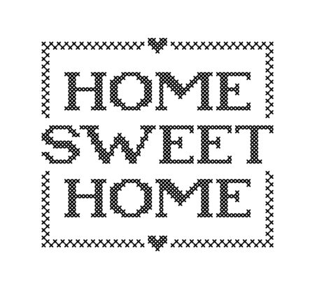 Illustration pour HOME SWEET HOME. Embroidery quote. Stitch cross typography cozy design for print to poster, t shirt, banner, card, textile for your sweet house. Vector illustration. Black text on white background - image libre de droit