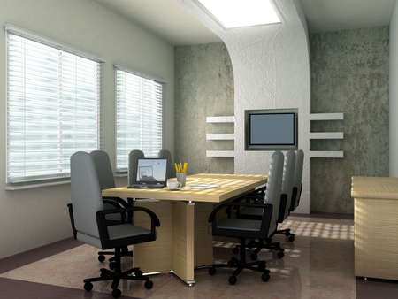 Laptop background is my own image.3D rendering of an empty meeting room