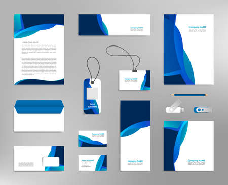 Illustration for Corporate identity design template, business stationery mockup for company branding - Royalty Free Image