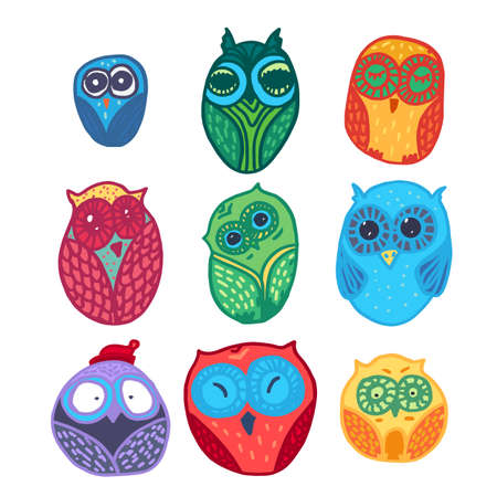 Hand  Drawn Funny Owl. Owls set for print, fabric, wrap and illustration. Vector