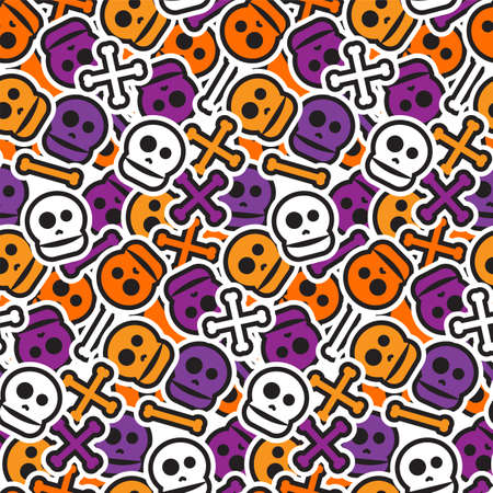 Illustration pour Happy Halloween Seamless Pattern. Scary and horror background. 31th October ornament for kid and youth stuff. Vector - image libre de droit