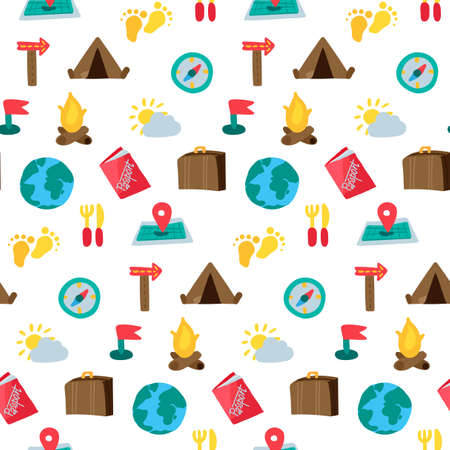 Illustration pour Cartoon travelling and camping seamless pattern. Hipster background. Vector - image libre de droit
