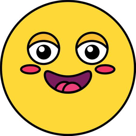 Happy, shy emoji color illustration. Yellow emoticon, social media cartoon head with blush, flush