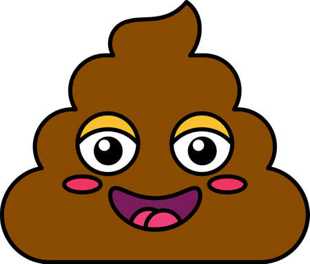 Shy turd emoji vector illustration. Poop emoticon, social media cartoon sticker with blush, flush