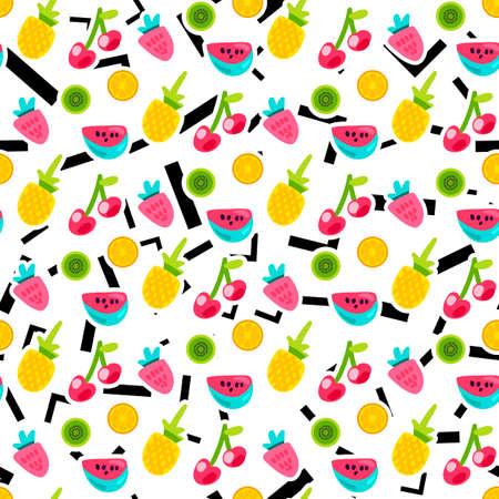 Illustration pour Color fruits seamless vector pattern. Doodle cherry, kiwi, orange with lines, angles background - image libre de droit
