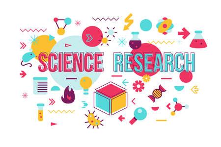 Illustration pour Science experiment word concept banner design. Biochemistry research vector illustration with icons - image libre de droit