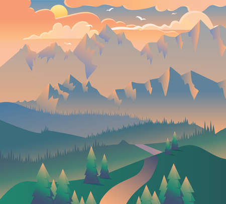 Illustration pour Morning Landscape Nature Forest Camping Banner. Sunrise or Evening Sunset with Clouds, Birds on Mountains Background and Green Tree and Grass on Poster. Isometric 3d Vector Illustration - image libre de droit