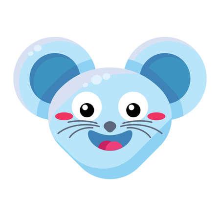 Happy mouse emoji flat illustration. 2020 year mascot. Social media cartoon sticker with blush